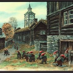 Nettbutikk Midthunsamlerne - www.midthunsamlerne.com Norwegian Christmas, Baumgarten, Christmas Pictures, Fantasy Creatures, Vintage Postcards, Faeries, Traditional Art, Dungeons And Dragons, Gnomes