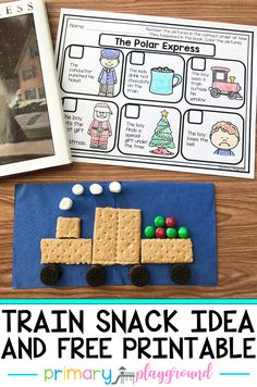 Are you having a Polar Express day? Wether you're reading the book or watching the movie, we have 2 fun ideas for you. Have your students make their very own Polar Express train snack and have them work on their sequencing and retelling skills with the free printable.  #polarexpress #polarexpressday #trainsnack #booksnack