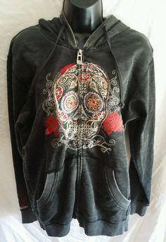 Billabong Hoodie Hoody Girls Skull Zipper Zip Up Medium M Charcoal Black #Billabong #Hoodie