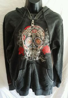 Billabong Hoodie Hoody Girls Skull Zipper Zip Up Medium M Charcoal Black #Billabong #Hoodie