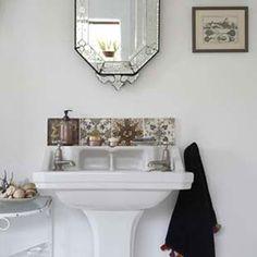 Tiled splashback for downstairs cloakroom Bathroom Ideas Uk, Small Bathroom Sinks, Ideal Bathrooms, Upstairs Bathrooms, Bathroom Pictures, Bathroom Toilets, Bathroom Sink Faucets, Bathroom Inspiration, Public Bathrooms