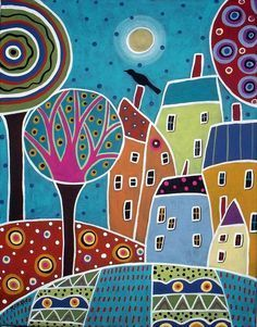Village Houses- Original abstract folk art acrylic & oil painting on stretched canvas Silk Painting, Painting & Drawing, Pintura Country, Arte Popular, Naive Art, Whimsical Art, Art Lessons, Home Art, Art For Kids