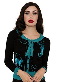 Voodoo Vixen – Elise Pussycat Embroidered Button Down Blue Cardigan  - See more at: http://45.gs/qydq