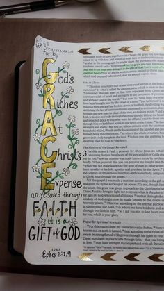 GRACE: God's Riches At Christ's Expense.  Ephesians 2:8,9.  #biblejournaling #illustratedfaith