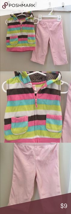 Girl's 18 month fleece outfit 18 mo girl's Carter's fleece multi-colored vest with coordinating pink 18 mo fleece pants. Very good condition. Smoke free and pet-free home. **Check out my closet for other boy and girl size newborn - 3T clothes! I am in the process of selling off all of my boy/girl twins' clothes! If you are looking for something in particular, let me know, I most likely have it! Carter's Matching Sets