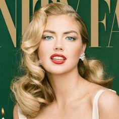 #blogvhs Vanessahairsupply.com Kate Upton vintage hair. Retro waves. Retro makeup. Red lips. Winged eyeliner.