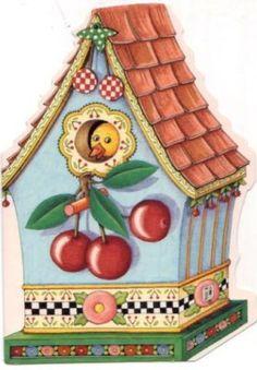 Mary Engelbreit Cherry Birdhouse Greeting Card