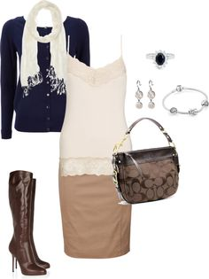 """""""Navy and brown skirt"""" by christij327 on Polyvore"""