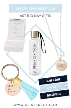 """With this """"build your own"""" bid day bag, now you can build your own Alpha Xi Delta bid day bag with trendy sorority gifts to fit any chapter budget. Sorority Names, Sorority Bid Day, Sorority Gifts, Bid Day Gifts, Delta Design, Bid Day Themes, Sorority Big Little, Big Little Reveal, Alpha Xi Delta"""