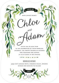 Lavish Laurel - Signature White Wedding Invitations - Whitney Port - Spruce Green - Green : Front