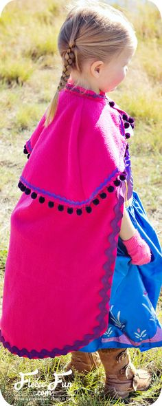You can make a cape that is inspired by Princess Anna's cape form Disney's Frozen