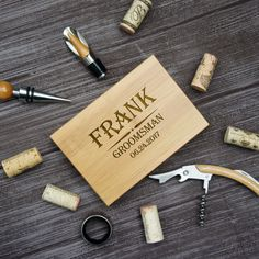 Groomsman Personalized Wine Corkscrew Stopper Pourer and Ring Set in Engraved Bamboo Case (Each w/ Wedding Party Monogram Design Options) by DesignstheLimit #TrendingEtsy
