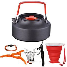camping kitchen set with stove - 9cs Camping Tea Kettle Stove Canister Stand Tripod Collapsible Cup Carabiner Set Bisgear Mess Kit Backpacking Hiking Gear Outdoors Bug Out Bag Water Kettle Teapot Coffee Pot ** Continue to the product at the image link. (This is an affiliate link) #schweden