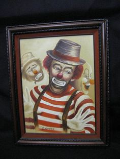 Original Oil On Canvas Painting By O. Hammer CLOWNS w/STRIPES & Suspenders