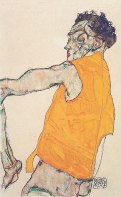 Egon Schiele: Selbstbildnis in gelber Weste, 1914.