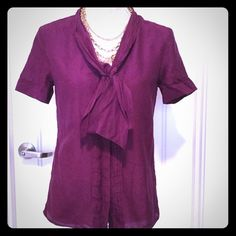 Purple Tie Front Buttonup Blouse, Size 4 Beautiful shade of purple/eggplant!  Gorgeous lightweight blouse in a cotton/silk blend.  Button sleeve, button front, with tie.  Banana Republic size 4 (small) Machine washable.  Good used condition! Banana Republic Tops Blouses