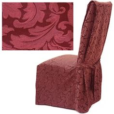 Damask Berry dining chair cover offers embroidered tone on tone light burgundy floral pattern color. #Slipcover is made of the finest quality damask with beautiful design and wonderful silky texture.