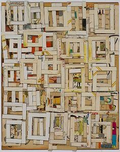 inspiration... layered squares made of paper/cardboard strips.