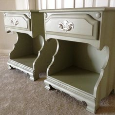 Two sweet bedside tables painted Sage Green using chalk style paint, lightly distressed and finished with clear wax.  www.facebook.com Mary's Garden of Refinished Treasures