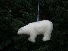 Polar Bear Christmas Ornament Arctic Series Custom by PlainsSong, $75.00 Needle Felted Animals, Felt Animals, Needle Felting, Polar Bear Images, Hanging Ornaments, Christmas Ornaments, Andean Condor, Arctic Hare, Polaroid