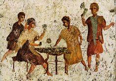 Fresco romano de Pompeya,escena en una taverna-  Pompeya   Museo Arqueologico de Napoles