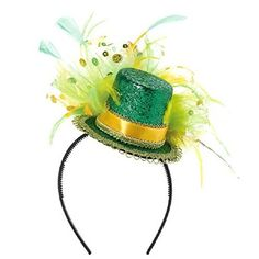 Amscan St Patricks Day Feathered Glitter Top Hat Headband Costume Party Head Wear Accessory Multi Color 11 x 10 Costume Multi Color >>> Visit the image link more details.