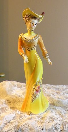Porcelain Figurine Victorian Lady Figurine by RosePetalResources, $22.00