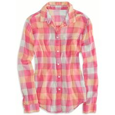 American Eagle Factory Girlfriend Plaid Shirt ($25) ❤ liked on Polyvore featuring tops, shirts, blusas, pink, tartan shirt, cotton shirts, long tops, shirts & tops and button-front shirt
