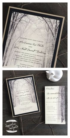 Winter Woods Wedding Invitation by Inspiration Instigator. Check out our website… - Hochzeit Wood Wedding Invitations, Wood Invitation, Wedding Invitation Design, Wedding Stationery, Winter Wedding Inspiration, Cute Wedding Ideas, Wedding Themes, Wedding In The Woods, Our Wedding