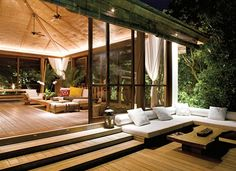 room ideas indoor outdoor living spaces Go thru the website to find the best decoration ideas to design your dream house. Indoor Outdoor Living, Outdoor Rooms, Outdoor Decor, Outdoor Seating, Outdoor Lighting, Natural Modern Interior, House In The Woods, My House, Boho Home