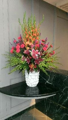 Lowe and Behold Orlando Florist; Bright and Tropical Floral Arrangement-a lesson in Grouping. Tropical Floral Arrangements, Large Flower Arrangements, Vase Arrangements, Flower Centerpieces, Flower Decorations, Altar Flowers, Church Flowers, Funeral Flowers, Ikebana