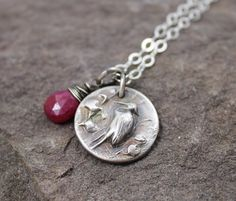 The Crane- Fine Silver And Ruby Necklace