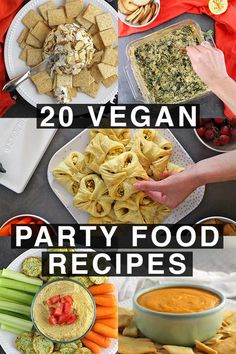 Holiday party season is here, and what's a holiday party without plenty of FOOD? These easy vegan party food recipes are crowd-pleasingly delicious! dinner recipes for entertaining 20 Crowd-Pleasing Vegan Party Food Recipes Vegan Finger Foods, Healthy Vegan Snacks, Vegan Appetizers, Vegan Foods, Vegan Dishes, Vegetarian Meals, Vegan Recipes Easy, Cooking Recipes, Healthy Food Recipes