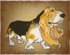 Basset Hound Caricature Drawing  - Basset Hound Caricature Fine Art Print