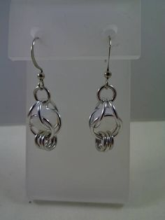 White Captured Bead Chainmail Earrings Chain Maille Earrings