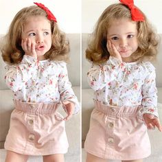 CANIS casual Toddler Baby clothing sets Girl Autumn Clothes ruffles Floral printed Tops Blouses and flower Skirts Outfits _ {categoryName} - AliExpress Mobile Version - Blouse And Skirt, Blouse Dress, Dress Skirt, Floral Blouse, Skirt Set, Baby Kleidung Set, Floral Tops, Autumn Clothes, Summer Clothes