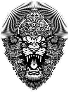 """ ✳✳ SHRI NRSIMHADEVA ॐ ✳✳ ""Lord Nrsimhadeva is here and also there. Wherever I go Lord Nrsimhadeva is there. He is in the heart and is outside as well. I surrender to Lord Nrsimhadeva, the origin of all things and the supreme. Arte Shiva, Shiva Art, Krishna Art, Hindu Art, Kali Hindu, Hindu Tattoos, God Tattoos, Buddha Tattoos, Father Tattoos"