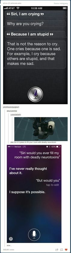 That first quote is from TBBT, I think. Funny Quotes, Funny Memes, Hilarious, Funny Guys, Things To Ask Siri, Funny Tumblr Posts, How To Make Notes, Big Bang Theory, Puns