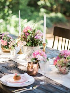 Pink and Gold Centerpiece | Romantic Pink Garden Wedding Ideas via TheELD.com | White Ivory Photography
