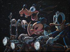 the 3 amigos ride again by damian fulton mickey mouse goofy canvas art print anti-disney kustom-kulture artwork dark-disney alternative Motorcycle Art, Bike Art, Stretched Canvas Prints, Canvas Art Prints, Retro, Drawn Art, Disney Artists, Lowbrow Art, Surf Art