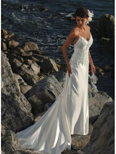 Spaghetti Straps Sweep Train Sheath Wedding Dress