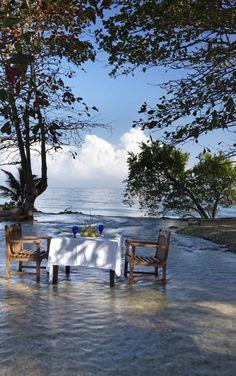 Cliff-side breakfast in Jamaica.