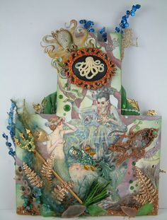 """Mermaid Sandcastle Book Page * - To see more of my art, signup to win my art, download free images, and learn new techniques checkout my Blog """"Artfully Musing"""" at http://artfullymusing.blogspot.com"""