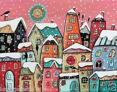 Winter Cityscape 11x14 Houses Birds ORIGINAL Canvas PAINTING FOLK ART Karla G...Brand new painting, now for sale..