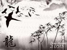 """Aves perdidas"". en esta imagen se utilizaron los pinceles Birdsflying_23; Clouds_17; Chinese_dragon; Bamboobrushes; aurora_13. Fuente QualityStreet. Medidas: 1024x768 pixeles. Orientación: Horizontal."