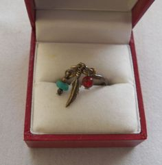 $7.00 - Silver Feather & Bead Ring (91215-1480MS) jewelry, fashion, collectibles #Unbranded #Band