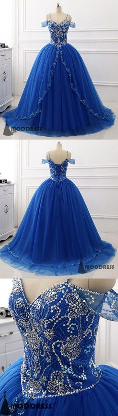 Royal Blue Long Prom Dress Off the Shoulder Beading Tulle Ball Gowns Sweetheart Evening Dress,HS385 #fashion #shopping #dresses #eveningdresses #2018prom
