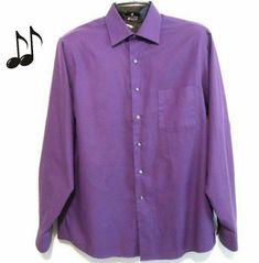 cc285f98aa97a9 Oxford Dress Shirt Sz 16.5 Mens Purple Van Heusen Twill Cotton Button Front