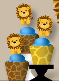 TWELVE(12) Blue LION Baby Shower/Birthday party CUPCAKE TOPPERS and/or WRAPPERS.  CLICK Link to View Other Blue LION Products https://www.etsy.com/shop/bcpaperdesigns/search?search_query=lion