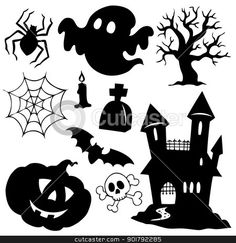 Halloween silhouettes collection 1 stock vector
